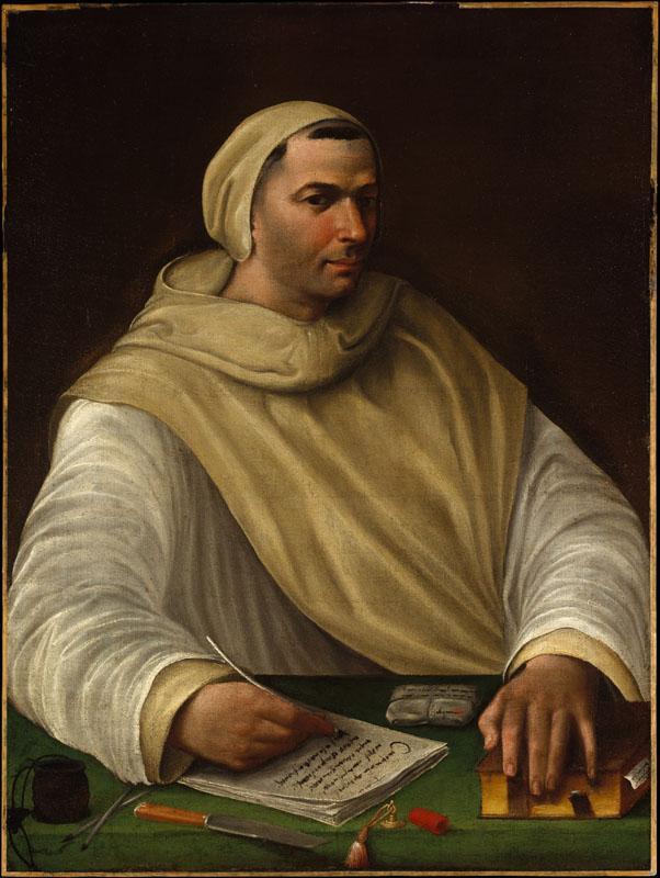 Attributed to Battista Franco--Portrait of an Olivetan Monk