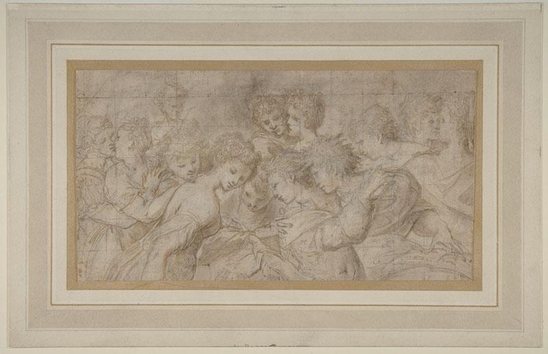 Attributed to Girolamo Mirola--Embracing Female Figures, Some Holding Musical Scores