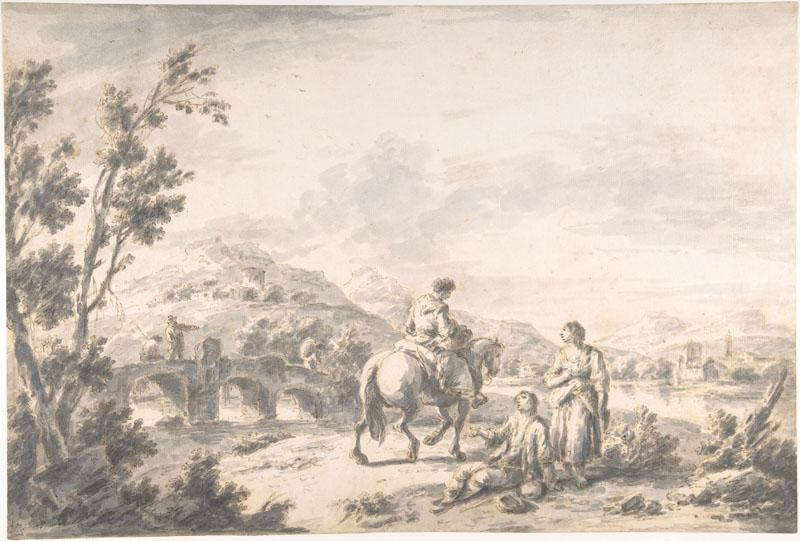 Attributed to Giuseppe Zais--River Landscape with Two Mendicants and Other Figures