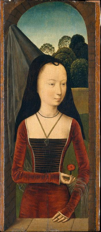 Attributed to Hans Memling--Young Woman with a Pink