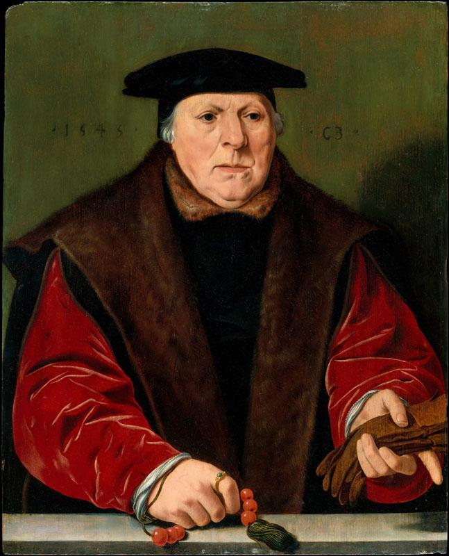 Attributed to Jan Cornelisz Vermeyen--Portrait of a Man with a Rosary