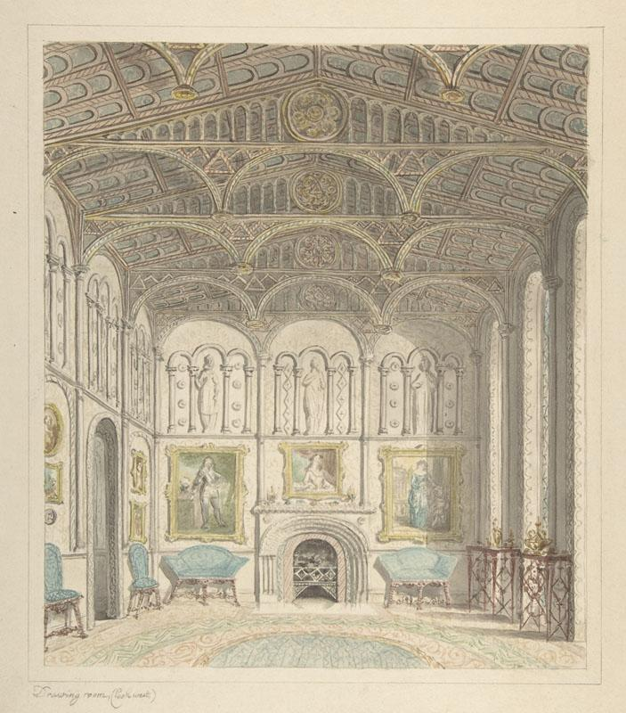 Attributed to John Carter--Drawing Room of Lea Castle, Looking West
