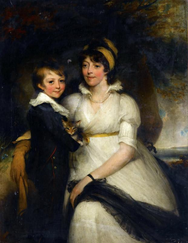 Attributed to John Hoppner -- Young Woman and a Boy Holding a Cat