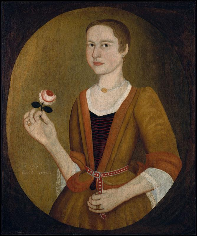 Attributed to Pieter Vanderlyn--Young Lady with a Rose
