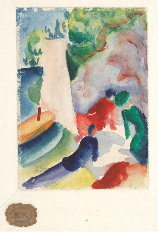 August Macke (1887-1914)-Picnic on the Beach (Picnic after Saili