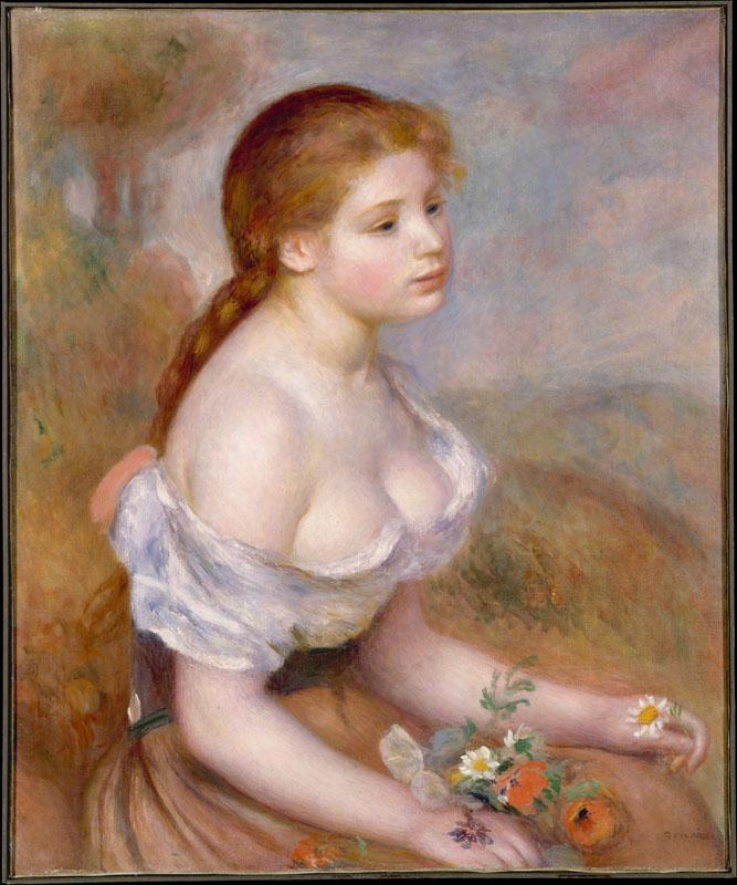 Auguste Renoir--A Young Girl with Daisies