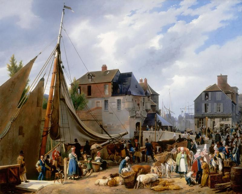 Auguste-Xavier Leprince -- Boarding of animals on the Passager at the port of Honfleur