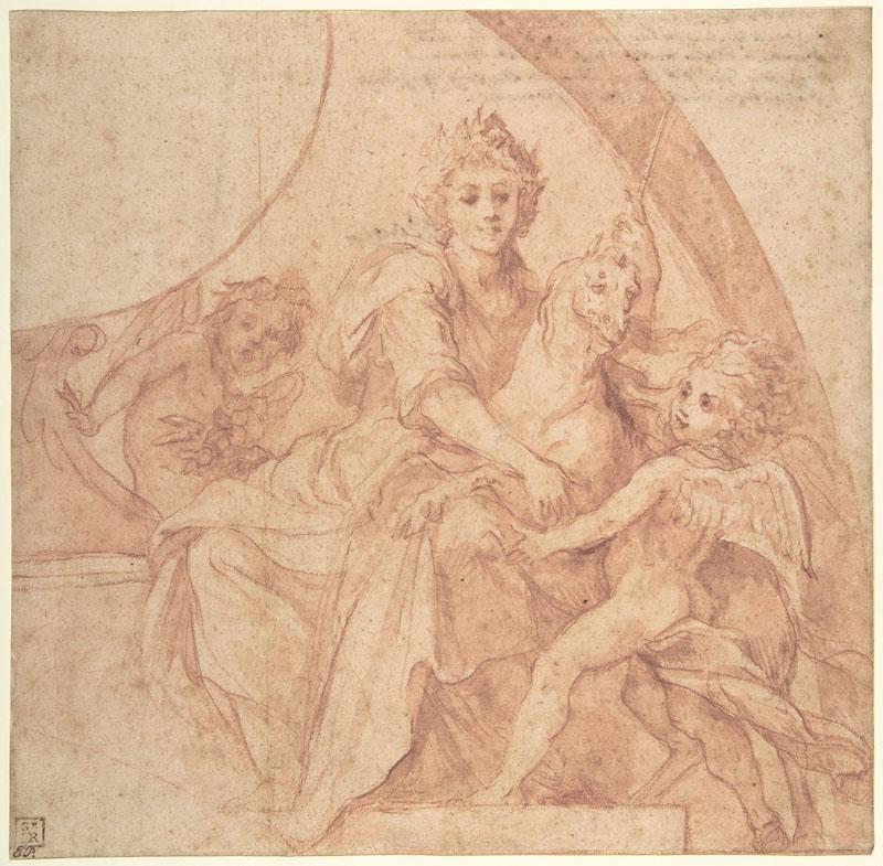 Baldassarre Franceschini--Allegorical Figure of Purity with a Unicorn and Two Putti