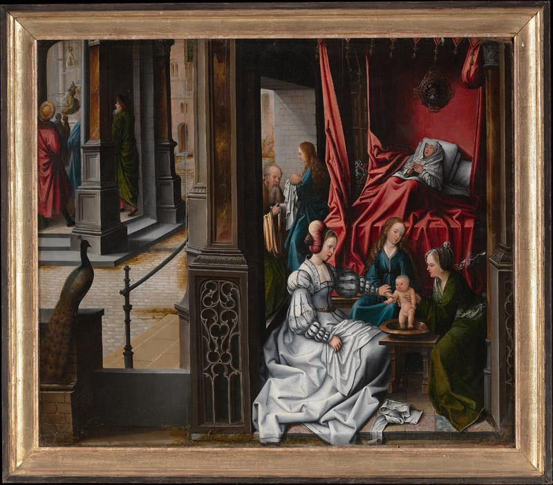 Bernard van Orley--The Birth and Naming of Saint John the Baptist Trompe-l oeil with Painting of The Man of Sorrows