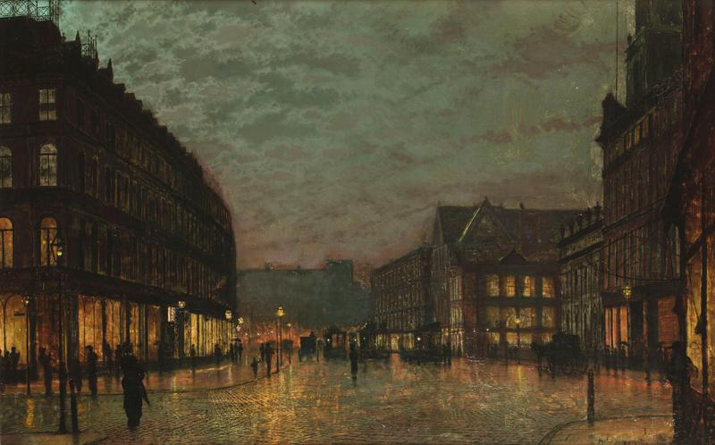 Boar Lane Leeds by lamplight 1881
