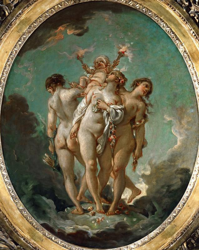 Boucher, Francois -- The Three Graces carrying Amor, God of Love