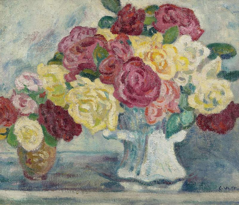 Bouquets of Roses on Blue Background, 1908