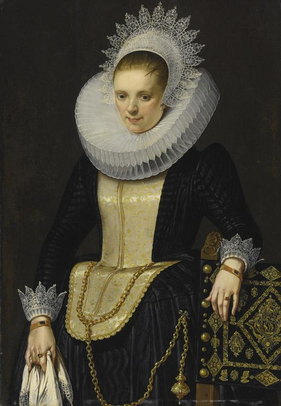 CORNELIS DE VOS-PORTRAIT OF A LADY IN ELEGANT DRESS