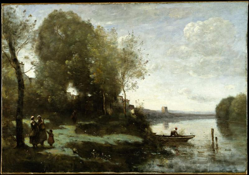 Camille Corot--River with a Distant Tower