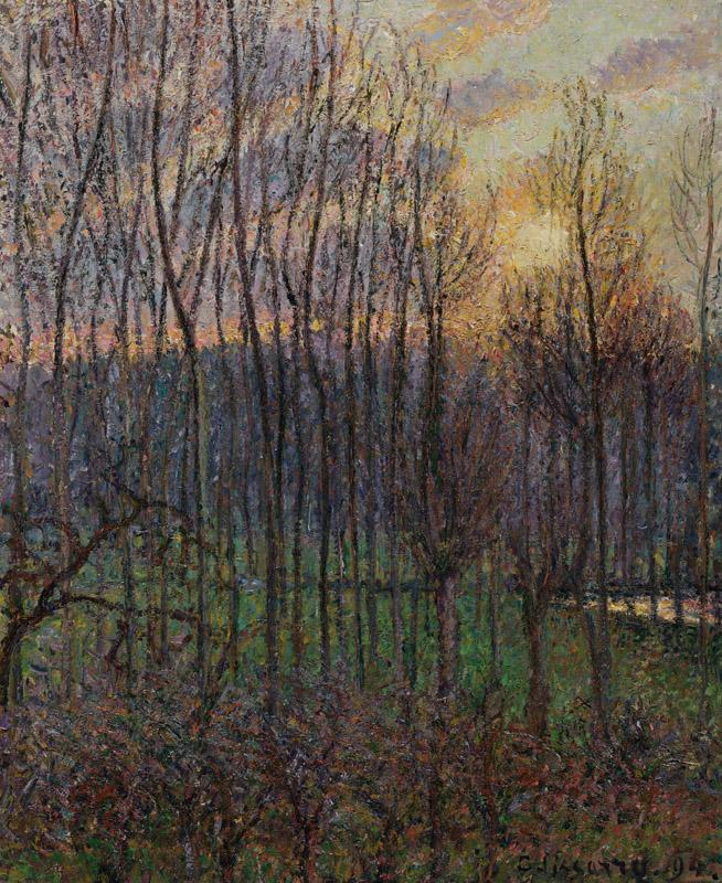 Camille Pissarro - Poplars, Sunset at Eragny, 1894