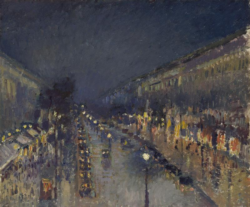 Camille Pissarro - The Boulevard Montmartre at Night