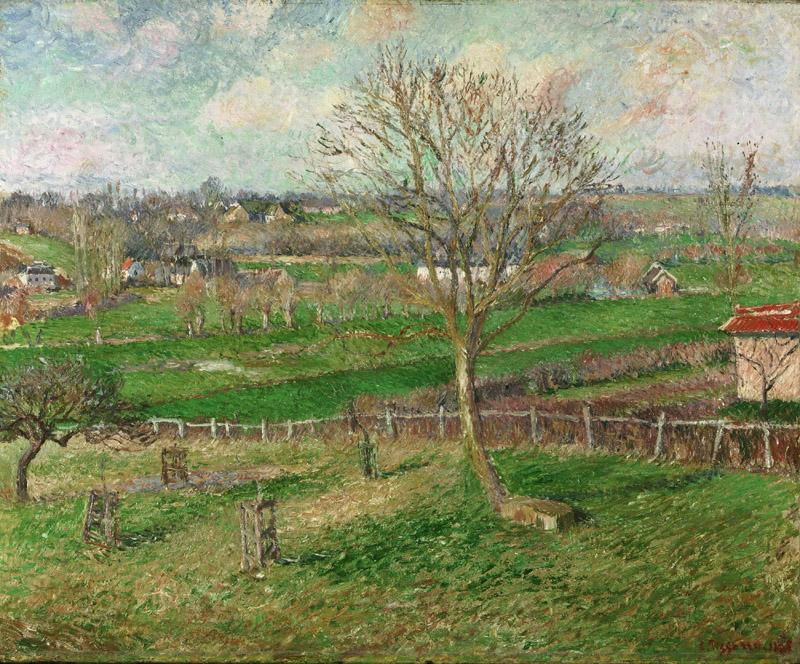 Camille Pissarro, French, 1830-1903 -- The Field and the Great Walnut Tree in Winter, Eragny