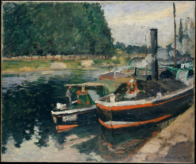 Camille Pissarro--Barges at Pontoise