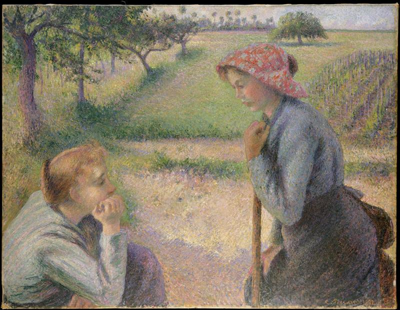 Camille Pissarro--Two Young Peasant Women