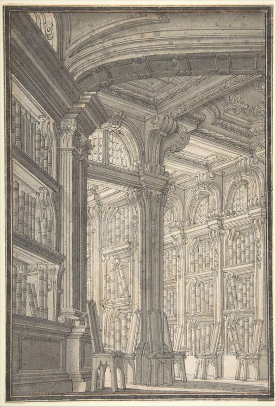 Carlo Galli Bibiena--Foreshortening of a Library