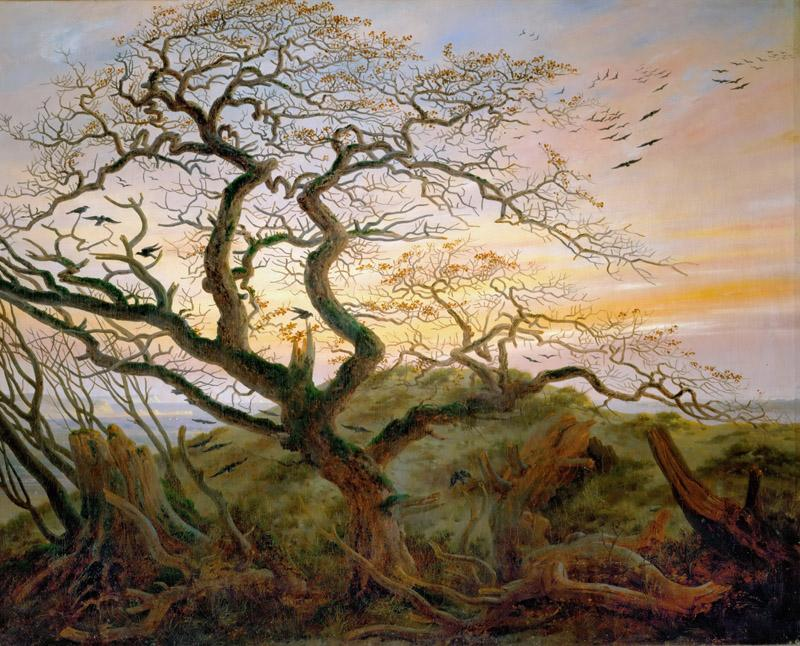 Caspar David Friedrich -- Tree with Ravens and Prehistoric Tumulus on the Baltic Coast