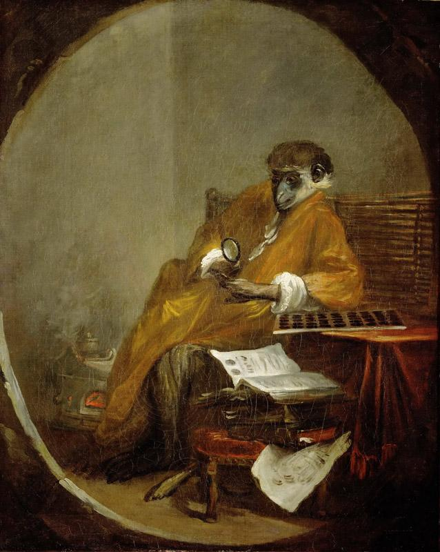 Chardin, Jean-Baptiste Simeon -- Le singe antiquaire-the monkey as collector of antiques
