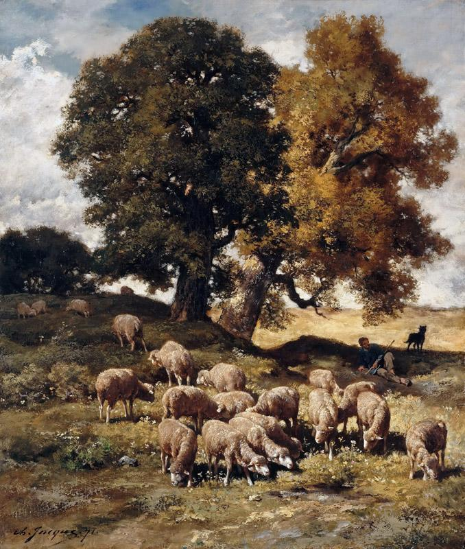 Charles emile Jacque -- Sheep Grazing