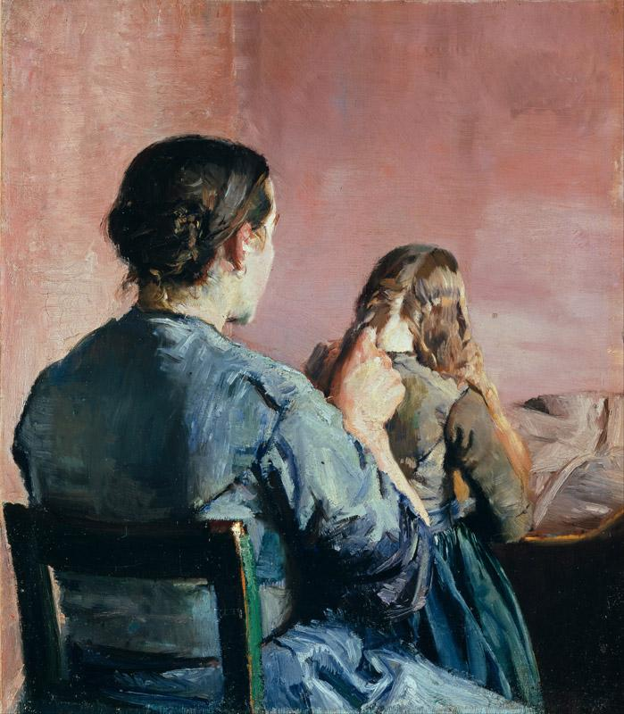 Christian Krohg - Braiding her Hair