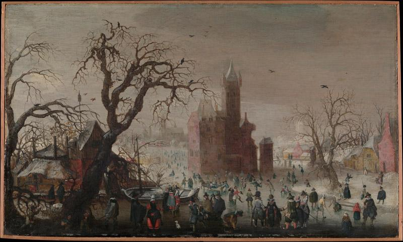 Christoffel van den Berghe--A Winter Landscape with Ice Skaters and an Imaginary Castle