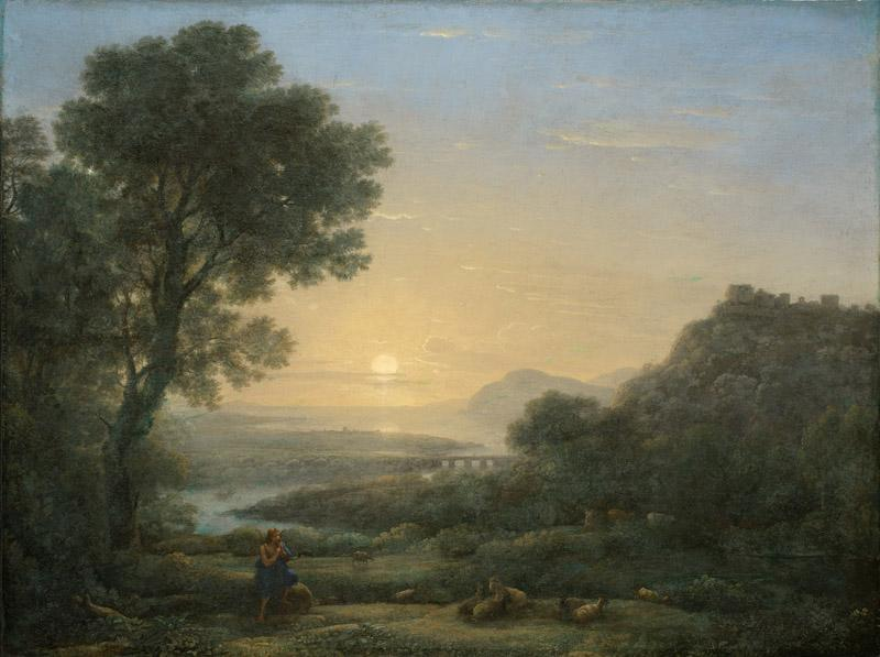 Claude Gellee (Le Lorrain) - Landscape with a Piping Shepherd, 1667