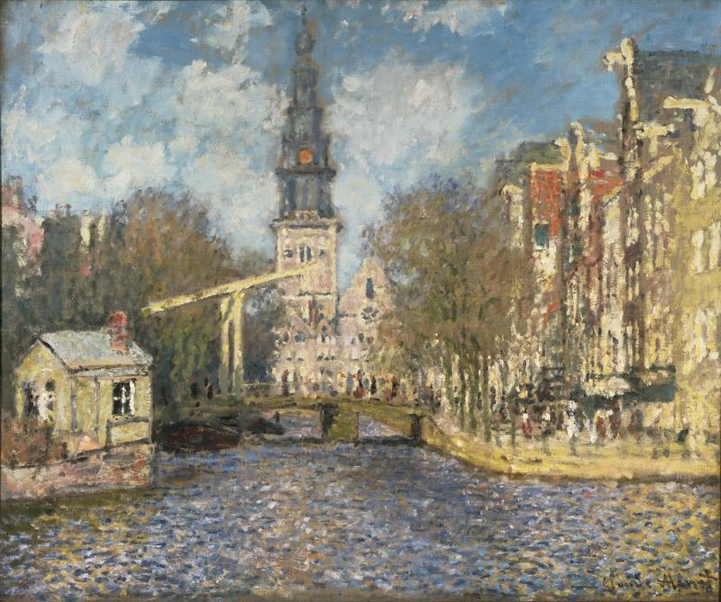 Claude Monet, French, 1840-1926 -- The Zuiderkerk, Amsterdam (Looking up the Groenburgwal)