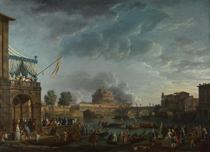 Claude-Joseph Vernet - A Sporting Contest on the Tiber at Rome