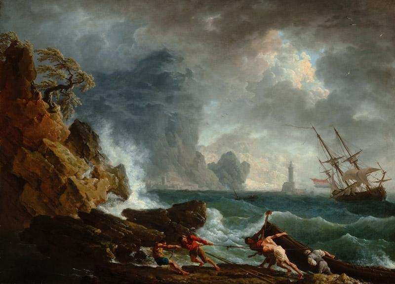 Claude-Joseph Vernet - An Italian Harbour in Stormy Weather