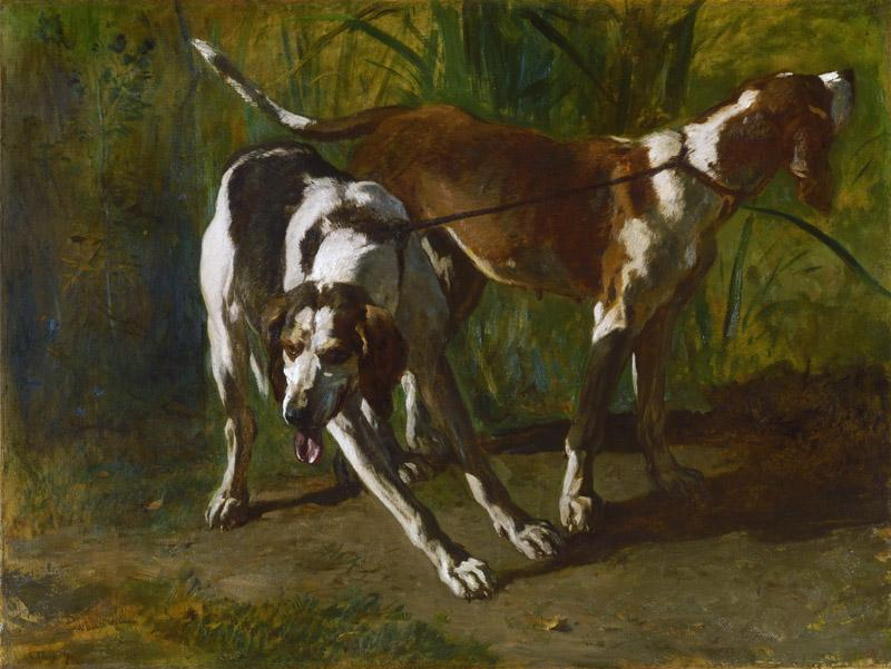 Constant Troyon, French, 1810-1865 -- Leashed Hounds
