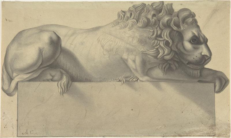 Copy after Antonio Canova--Drawing after a Lithograph of a Recumbent Lion