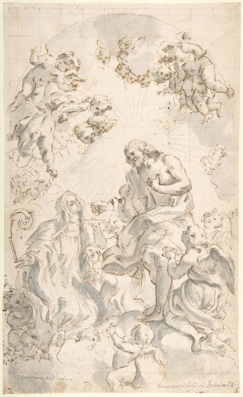 Copy after Giovanni Battista Gaulli--Copy of Gaulli Drawing Christ Giving the Host