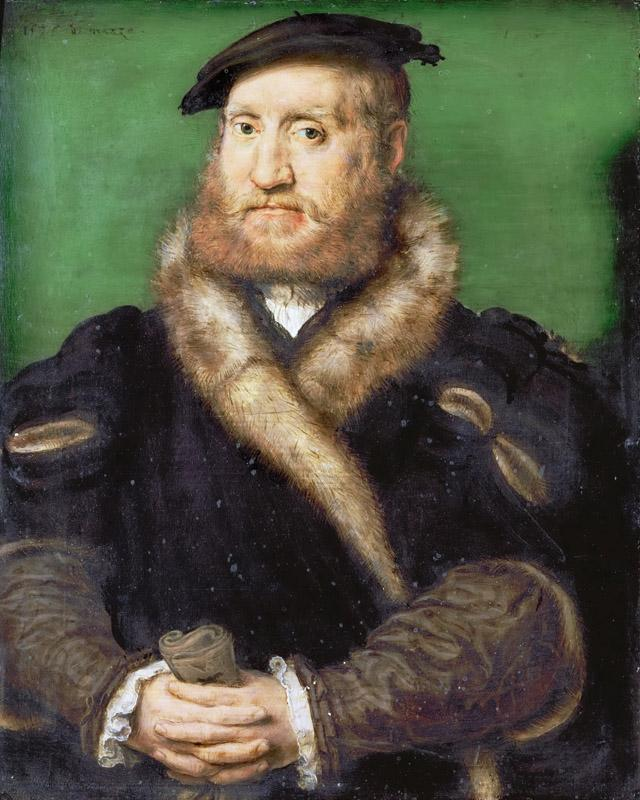 Corneille de Lyon -- Portrait of a Bearded Man with a Fur Coat