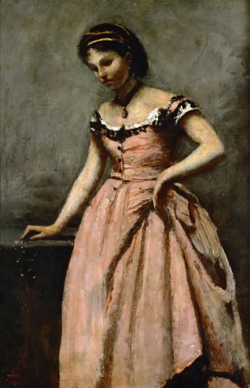 Corot, Jean-Baptiste Camille -- Girl in pink dress with roses and a pearl