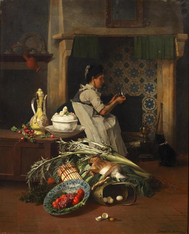 David Emile Joseph-Kitchen maid with game and vegetables