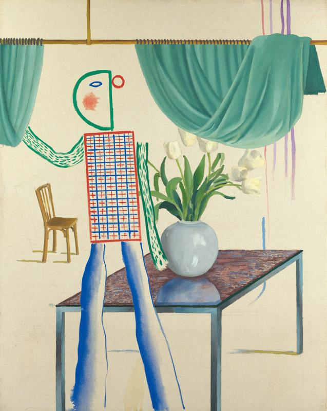 David Hockney - Invented Man Revealing Still Life, 1975