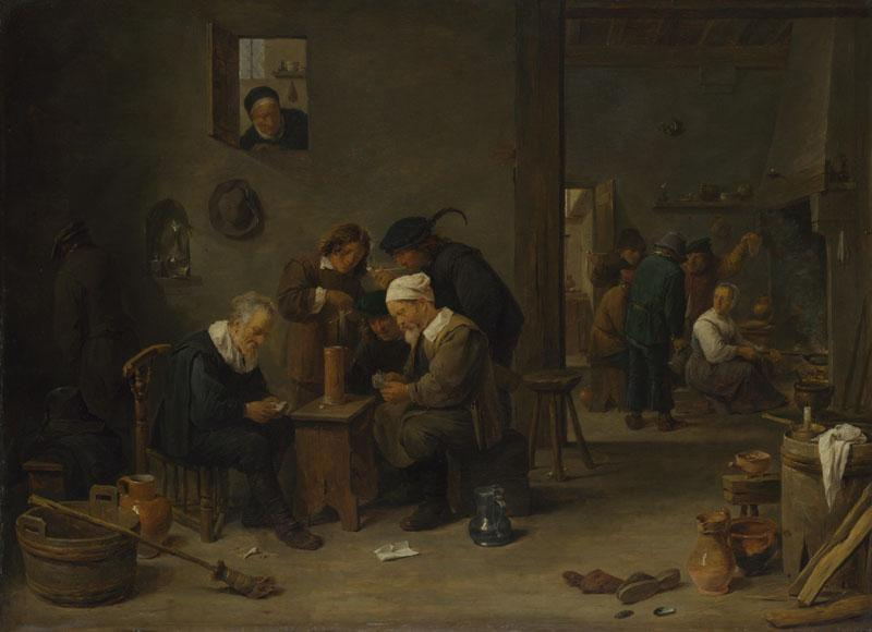 David Teniers the Younger - Two Men playing Cards in the Kitchen of an Inn