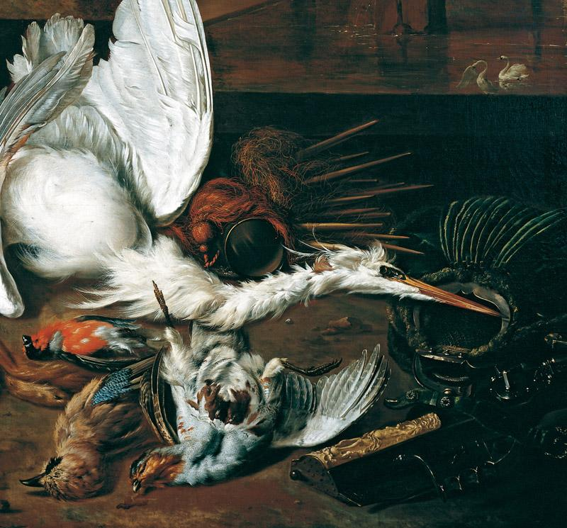 Dirk Valkenburg - Still-life with a Dead Heron and a Dog barking at a Bird, 1698-99 (Detail)