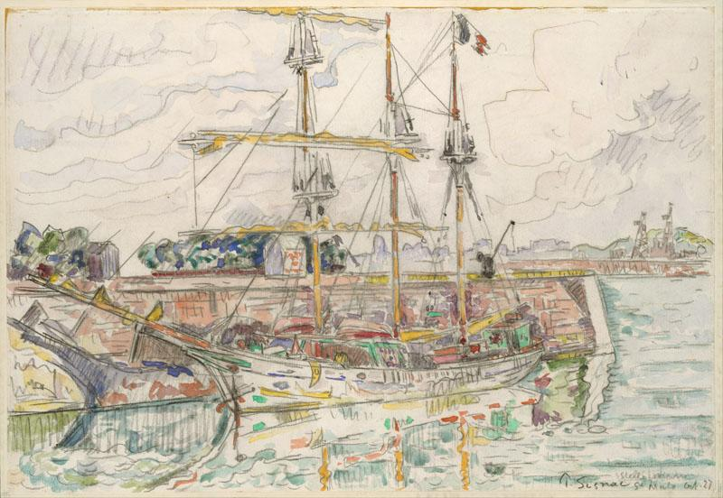 Docks at Saint Malo-Paul Signac (French, Paris 1863-1935 Paris)