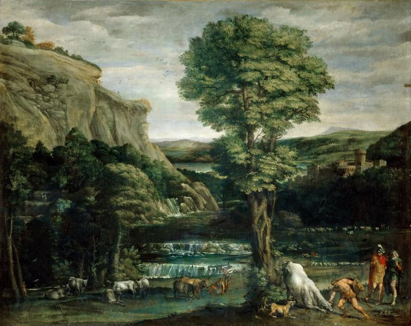 Domenichino -- Landscape with Hercules fighting Achelous changed into a bull