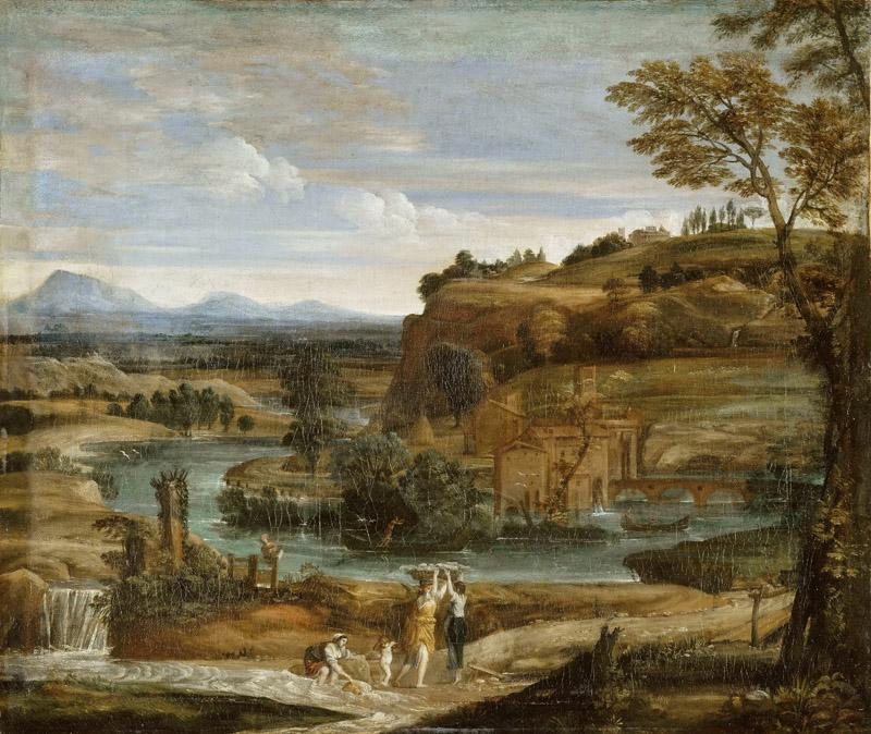 Domenichino -- Landscape with washerwomen and a child stunned with wine