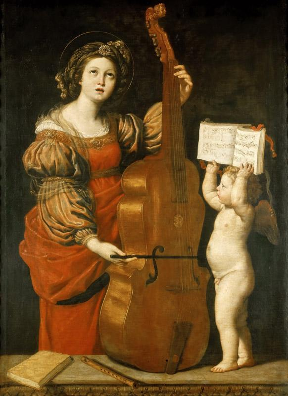 Domenichino -- Saint Cecilia with an Angel Holding Music