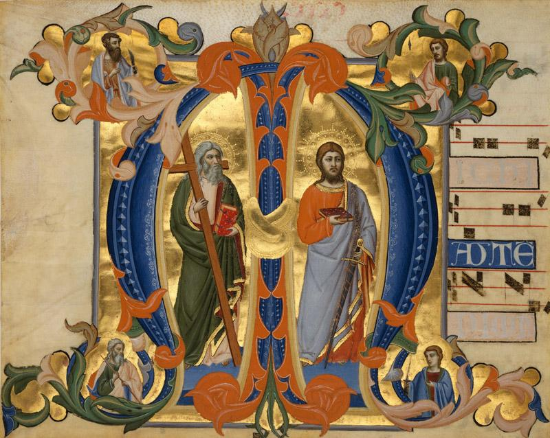Don Silvestro dei Gherarducci - Initial M with Saints James and Andrew, ca. 1380