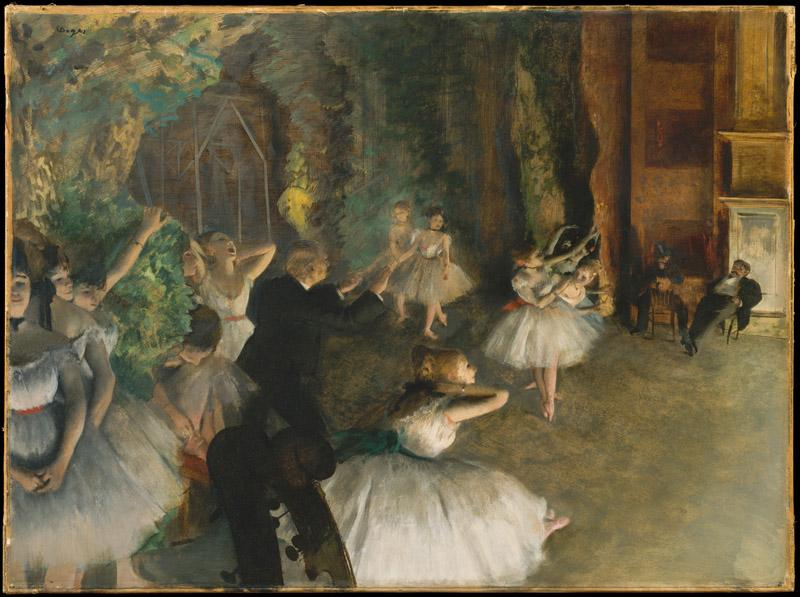 Edgar Degas--The Rehearsal of the Ballet Onstage