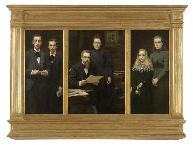 Edmond Van Hove - Triptych with portraits of the artist and his family