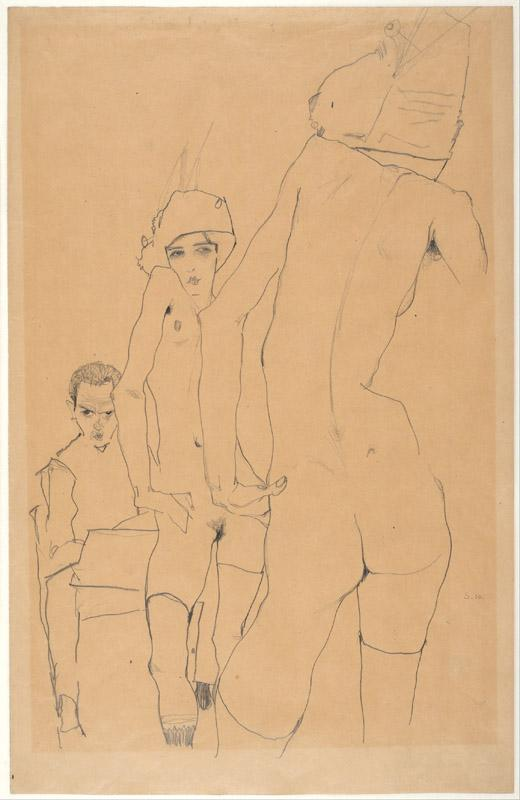 Egon Schiele (1890-1918)-Schiele with Nude Model before the Mirr